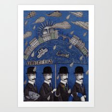 Four Men Waiting Art Print