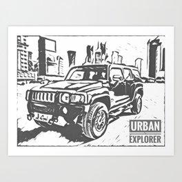 Urban Explorer - Hummer H3 Scetch Art Print