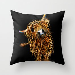 HIGHLAND COW PRINTS of Original SCOTTISH Painting  'CoooWeee on BLaCK ' SHIRLEY MACARTHUR Throw Pillow