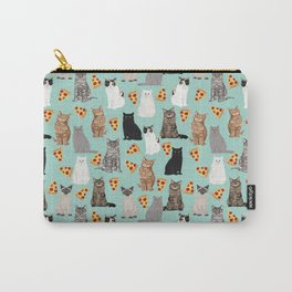 Cats with Pizza slices cheesy food funny cat lover gifts by pet friendly pet portraits Carry-All Pouch