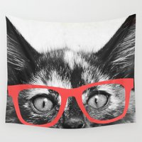 sassy Wall Tapestries featuring Sassy Kitten by Allyson Johnson