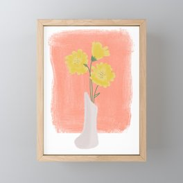 Yellow Vase Floral Illustration Framed Mini Art Print