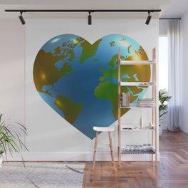 Globe in the shape of heart Wall Mural