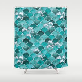 Wave Jumpers (Turquoise) Shower Curtain