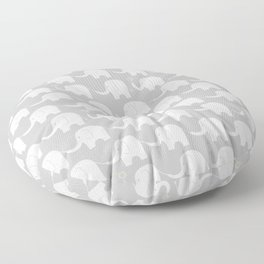 Elephant Parade on Grey Floor Pillow