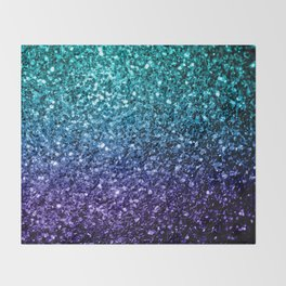 Beautiful Aqua blue Ombre glitter sparkles Throw Blanket