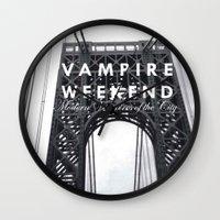 vampire weekend Wall Clocks featuring Vampire Weekend / George Washington Bridge by Harold's Visuals