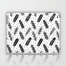 Feathers black and white triangle geometric modern trendy hipster boho southwest native style kids Laptop & iPad Skin