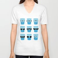 glasses V-neck T-shirts featuring Glasses by Zach Terrell