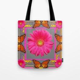 Pink Gerbera Flowers Orange Butterflies Grey Patterns Tote Bag