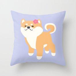 Spring Shiba Inu Throw Pillow