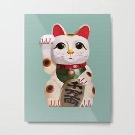 Maneki Neko (Fortune Cat) Polygon Art Metal Print