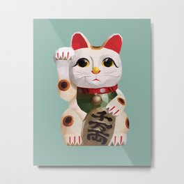 Maneki Neko (Fortune Cat) Polygon Art Metal Print