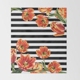 Red Orange Tulips Black Stripes Chic Throw Blanket