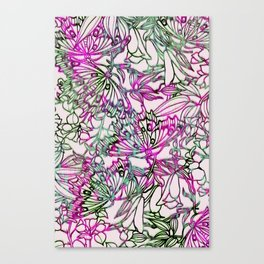 butterflies and florals as ikat line work in pink Canvas Print