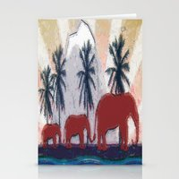 elephants Stationery Cards featuring Elephants by LoRo  Art & Pictures