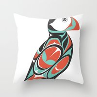 puffin Throw Pillows featuring Puffin by Siggi Odds