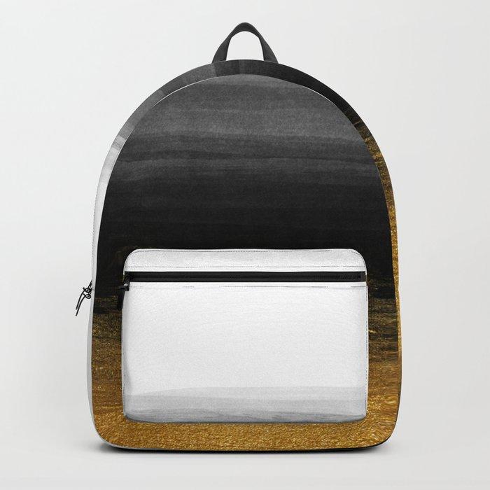 Black and Gold grunge stripes on clear white backround I - Stripes- Striped Backpack