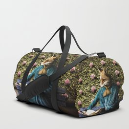 Fiona Fox reading in the garden Duffle Bag