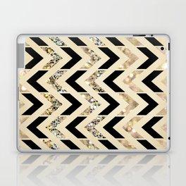 Black & Gold Glitter Herringbone Chevron on Nude Cream Laptop & iPad Skin