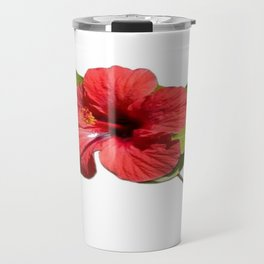 A Red Hibiscus Flower Isolated On White Background  Travel Mug