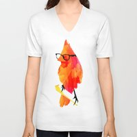 carpe V-neck T-shirts featuring Punk bird by Robert Farkas