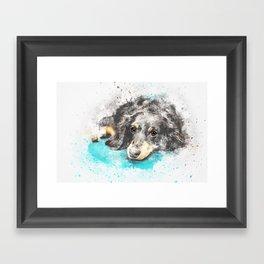 dog dachshund design Framed Art Print