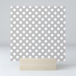 Large Polka Dots in White on Light Gray Mini Art Print