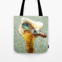 karu kara Tote Bags featuring abstract ostrich by Ancello