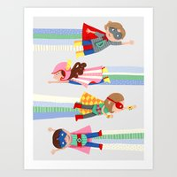 superheroes Art Prints featuring Superheroes  by ilana exelby
