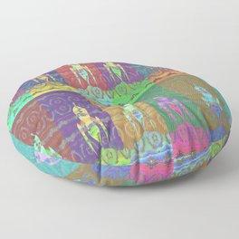 Twelve Colorful Space Rockets Floor Pillow