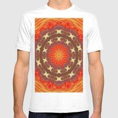 Sun Mandala White MEDIUM Mens Fitted Tee