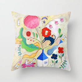 Red lion had a dream Throw Pillow