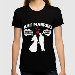 Just Married Game Over Husband and Wife Sarcasm T-shirt