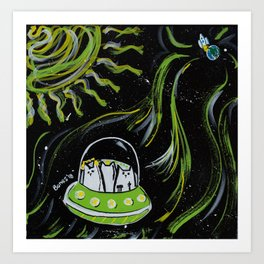 Cats in Outer Space Art Print