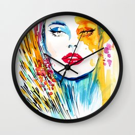 Multicolor fashion illustration Wall Clock
