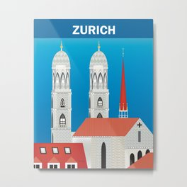 Zurich, Switzerland - Skyline Illustration by Loose Petals Metal Print