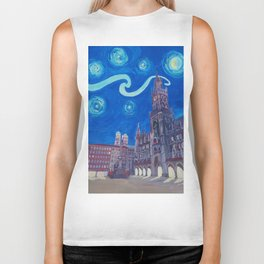 Starry Night In Munich - Van Gogh Inspirations with Church of Our Lady and City Hall Biker Tank