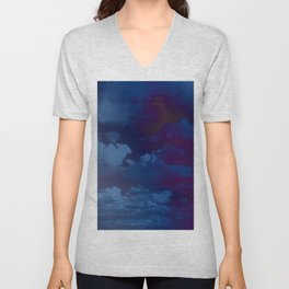 Clouds in a Stormy Blue Midnight Sky Unisex V-Neck
