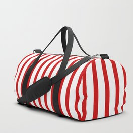 Red & White Vertical Stripes Duffle Bag
