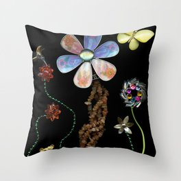 Happy Day in the Garden, Jewelry Scanography Throw Pillow
