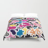 sticker Duvet Covers featuring Sticker Frenzy by XOOXOO