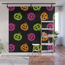 Fanciful Jack O' Lanterns Halloween Pattern Wall Mural