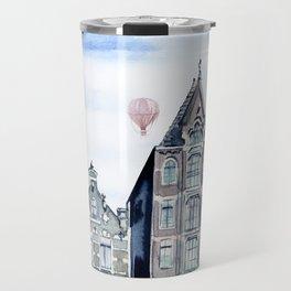 Amsterdam and balloons watercolor Travel Mug