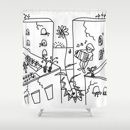 people are like cities with secret rooftops Shower Curtain
