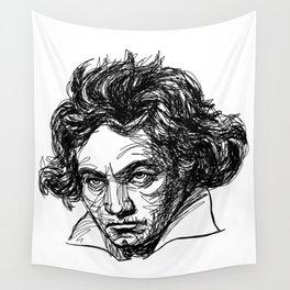 Ludwig Van Beethoven line drawing Wall Tapestry