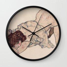 KNEELING GIRL, RESTING ON BOTH ELBOWS - EGON SCHIELE Wall Clock