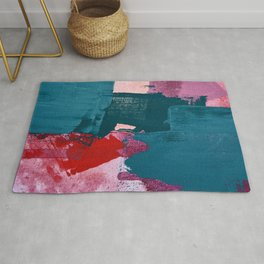 Joy [1]: a vibrant abstract design in purple, red, and teal by Alyssa Hamilton Art Rug