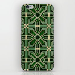 Art Deco Floral Tiles in Emerald Green and Faux Gold iPhone Skin