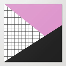 Geometry: black, pink and squres Canvas Print